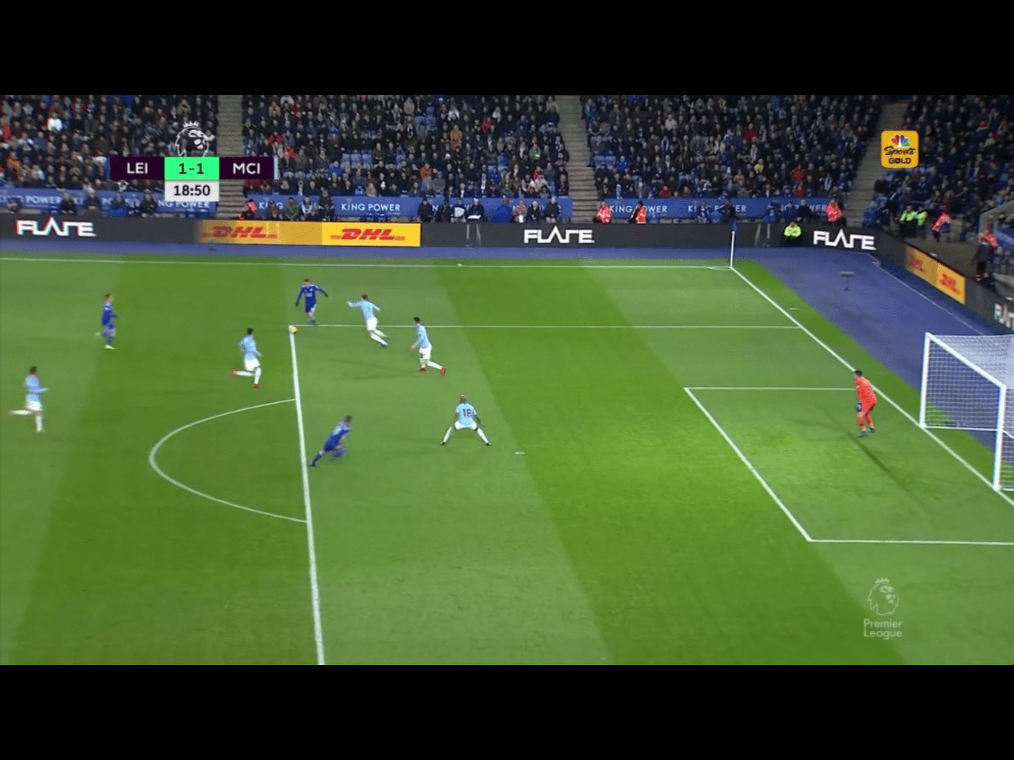 Despite the man advantage Manchester City's poor positioning and lack of pressure lead to Albrighton's goal. Screen capture courtesy of NBCSports