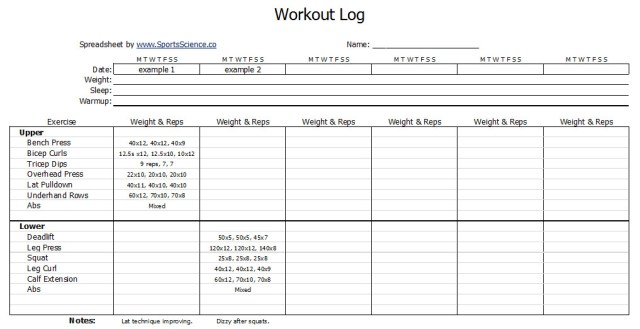 Workout Journal Template  Free Download