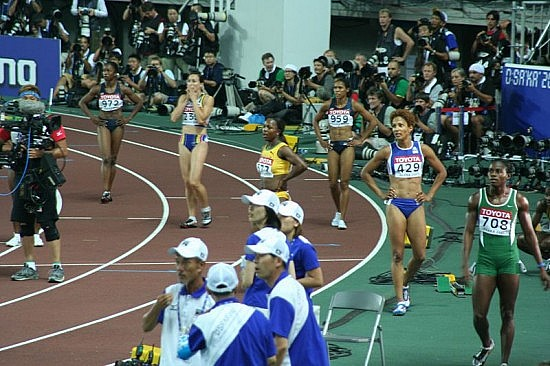 World Athletics Championships 2007 in Osaka - after an extremely tight 100 metres final, the winner is still unknown. Picture includes Carmelita Jeter (no. 972, finishing 3rd in 11.02), Kim Gevaert (no. 239, finishing 5th in 11.05), Veronica Campbell (no. 577, winner in 11.01), Torri Edwards (no. 959, 4th in 11.05), Christine Arron (no. 429, 6th in 11.08) and Oladumola Osayomi (no. 708, 8th in 11.26). Photo by Eckhard Pecher