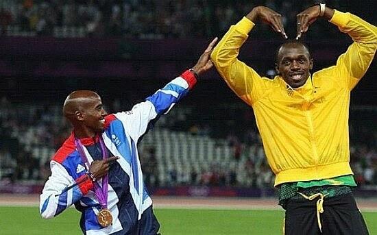 Mo Farah and Usain Bolt trade poses. Photo © Flickr user R Sameer (bedharak)
