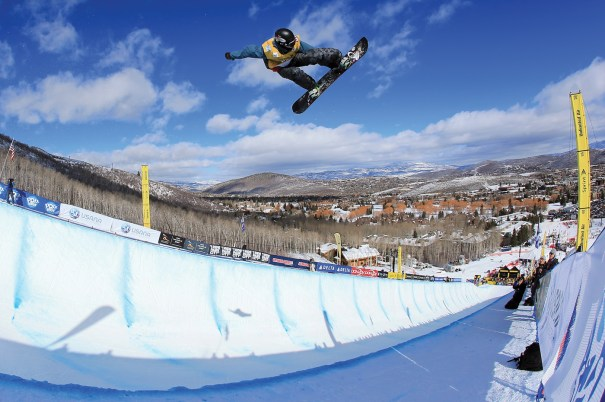 Great Britain's Ben Kilner flies over the halfpipe at the FIS Snowboard Halfpipe World Cup staged at Park City Mountain Resort in February.