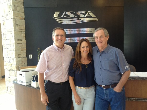 Left to right: SportsTravel Publisher Tim Schneider, SportsTravel Associate Publisher Lisa Furfine and USSA President and CEO Bill Marolt