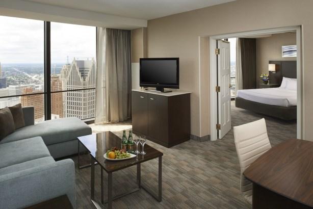 A redesigned suite at the Detroit Marriott at Renaissance Center.