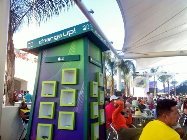 Very popular charging station near Tommy Bahama Bar outside stadium 2.
