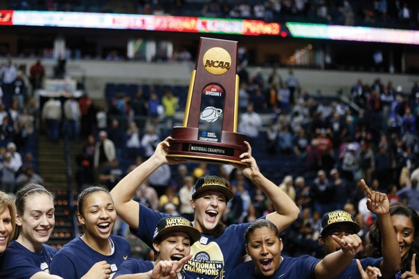 The University of Connecticut's women's basketball team won the NCAA Women's Basketball Tournament in 2014, just days after the university's men's team took home the same prize in their tournament. Photo courtesy of John Bazemore/AP Images