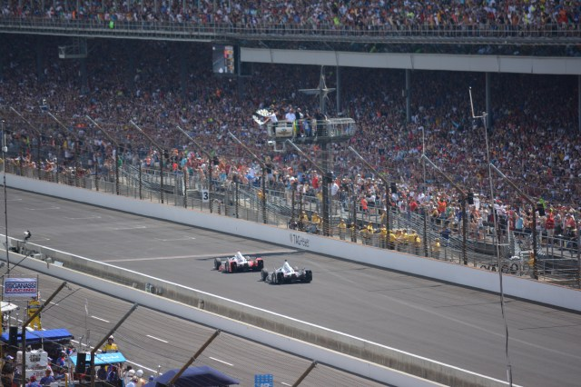 After 500 miles of racing, Juan Pablo Montoya just edged out Will Power to take the checkered flag.