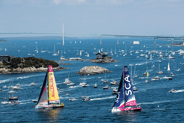 In 2015, the Volvo Ocean Race, an international sailing competition, made a stop in Newport, Rhode Island, an area with a rich tradition of hosting professional regattas. Photo courtesy of Rick Tomlinson/Volvo Ocean Race via Getty Images