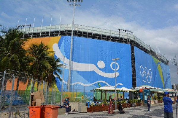 Outside the beach volleyball venue.