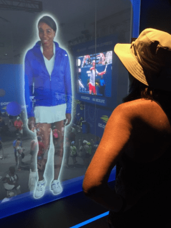 New tech offerings included a virtual racket game featuring Venus Williams in the American Express Fan Experience.