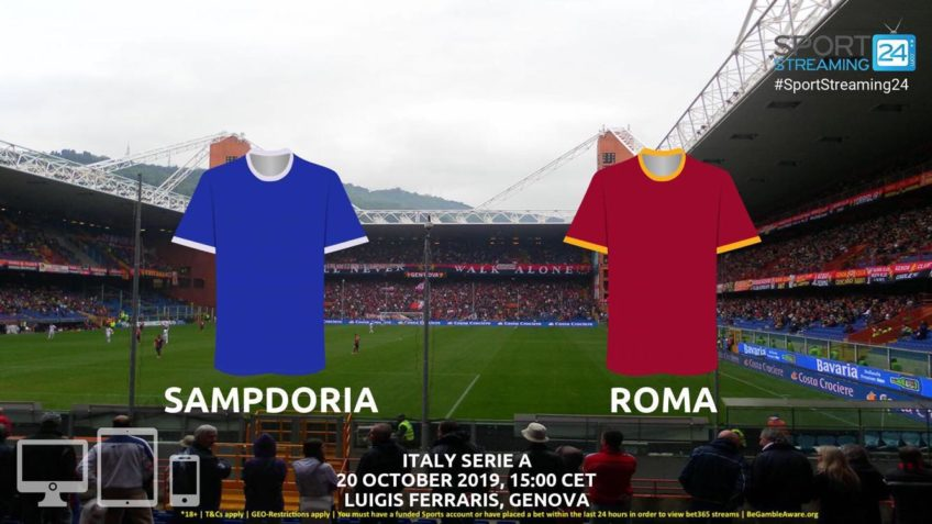 sampdoria roma live stream betting odds