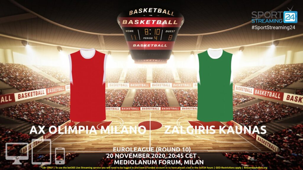 Thumbnail image for Olimpia Milano v Zalgiris Kaunas Live Stream | Euroleague