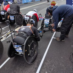 Wheelchair Marathon Free Barber Chair Vidovations Bonded Cellular System Rides Along During Nyc