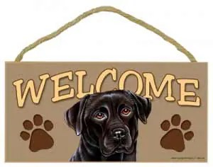Black Lab Welcome Sign