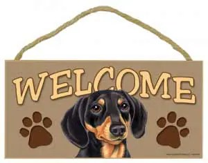 Black Dachshund Welcome Sign