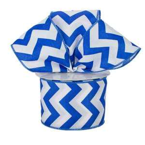 Blue and White Chevron Ribbon