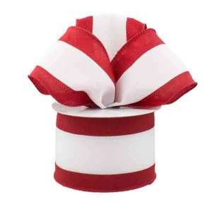 Crimson and White Stripe Ribbon