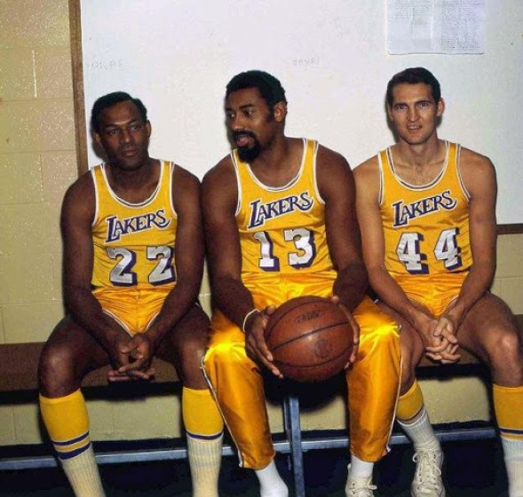 Wilt Chamberlain, Jerry West and Elgin Baylor