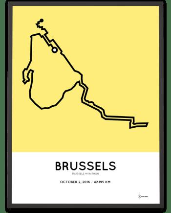 2016 brussels marathon course poster