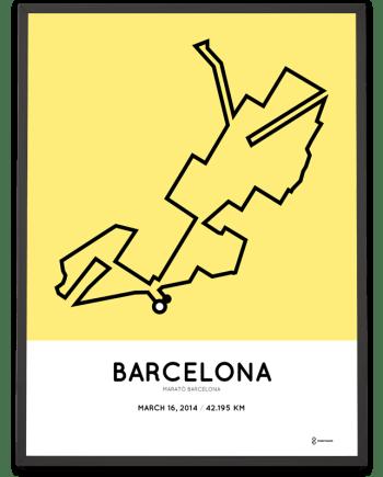 2014 barcelona marathon course poster