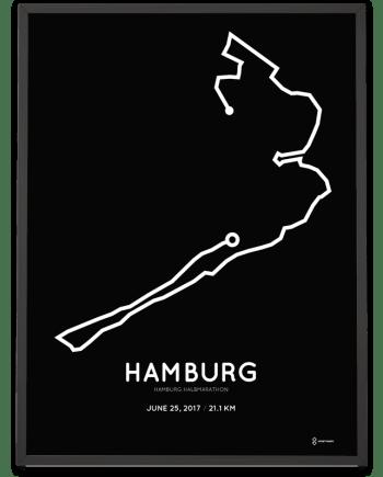 2017 Hamburg halbmarathon strecke poster