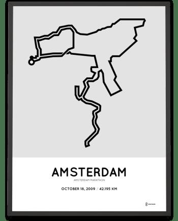 2009 Amsterdam marathon course poster