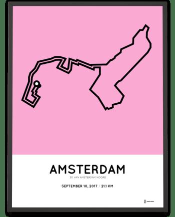 2017 30 van amsterdam Noord halve marathon route poster