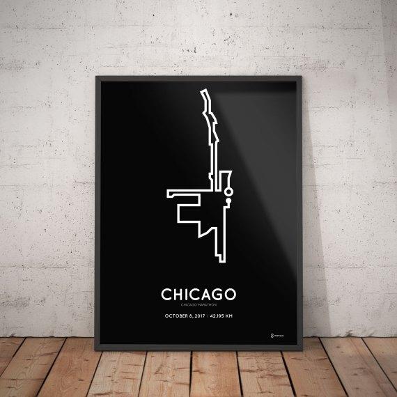2017 Chicago marathon route print