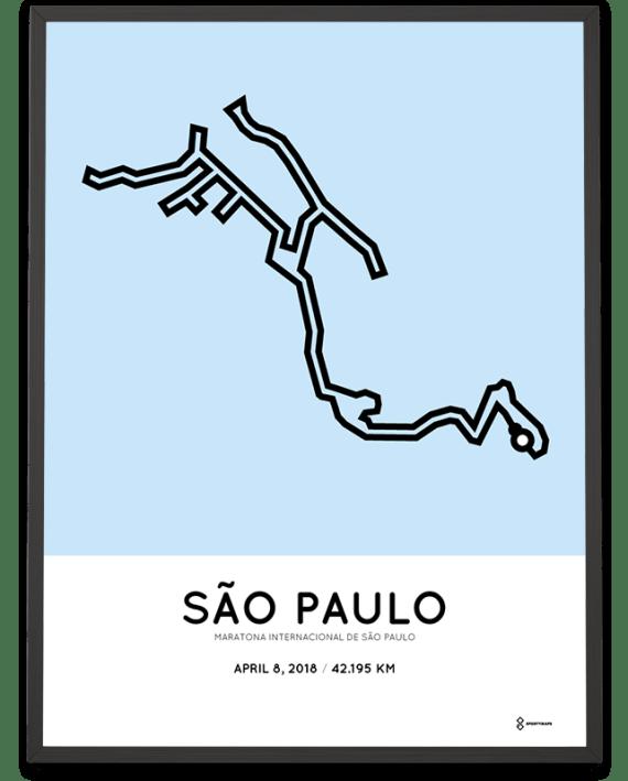2018 Sao Paulo marathon course map poster
