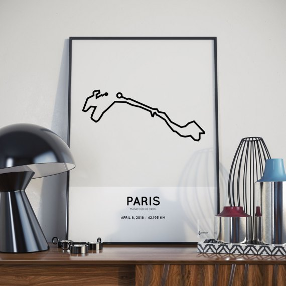 2018 Marathon Paris route map poster