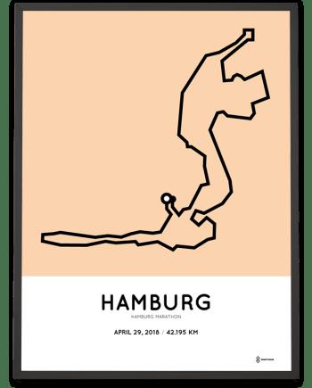 2018 Hamburg marathon strecke map poster