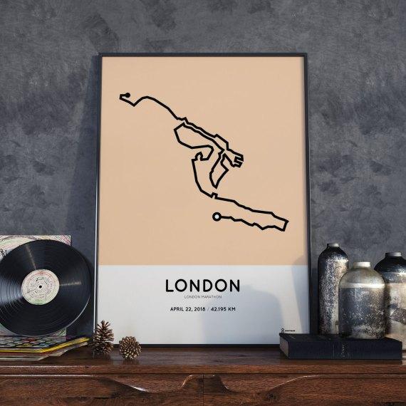 2018 London marathon course poster