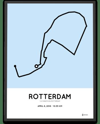 2018 Kwart marathon Rotterdam route poster