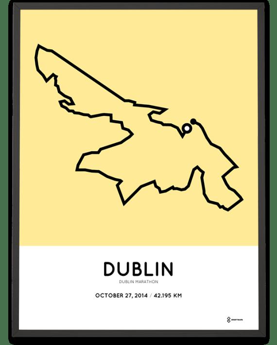 2014 Dublin marathon map route poster