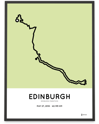 2018 Edinburgh marathon course print