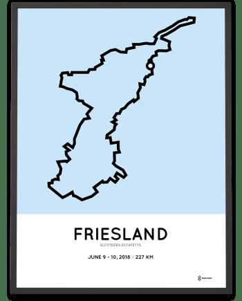 2018 Elfsteden estafette route kaart parcours poster
