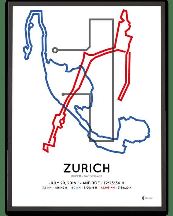 2018 Ironman Switzerland Zurich course sportymaps poster in color