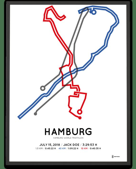 2018 hamburg world triathlon strecke map print