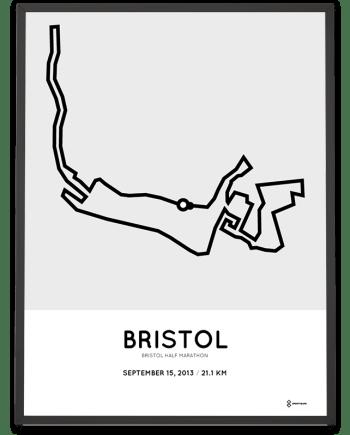 2013 Bristol half marathon route map poster
