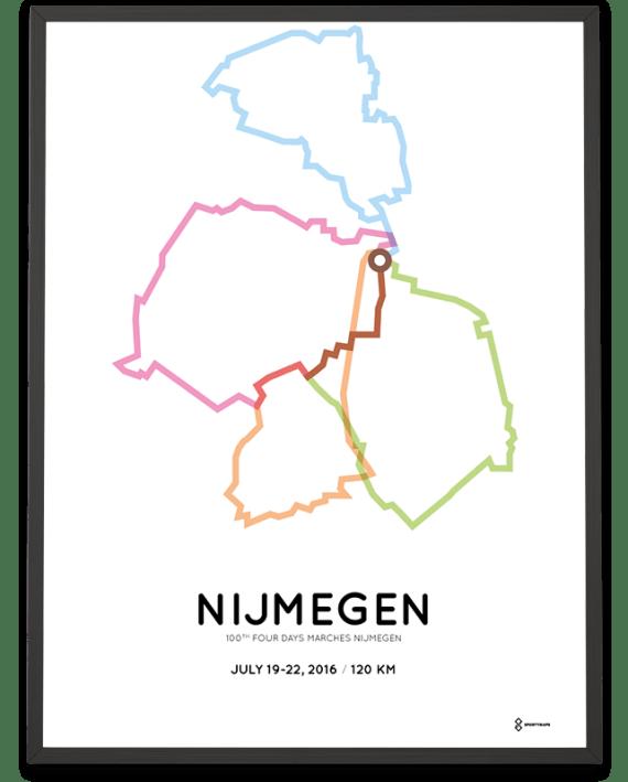 2016 Nijmegen Vierdaagse 120km parcours print