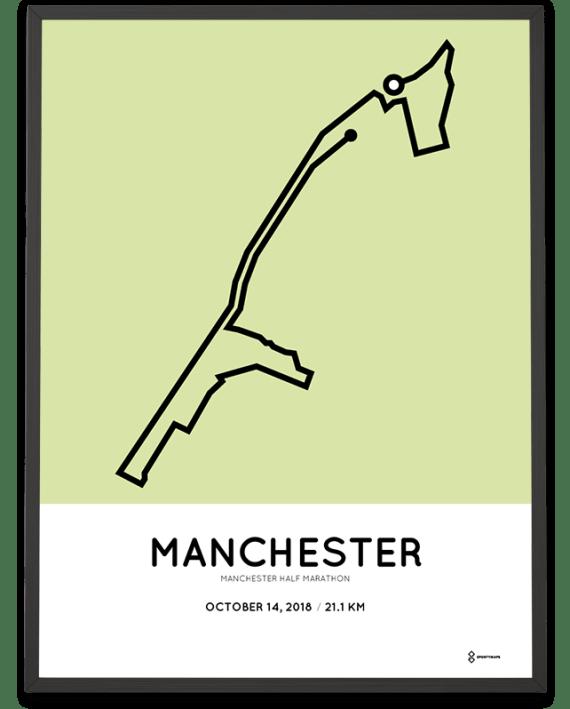 2018 Manchester half marathon course map route print