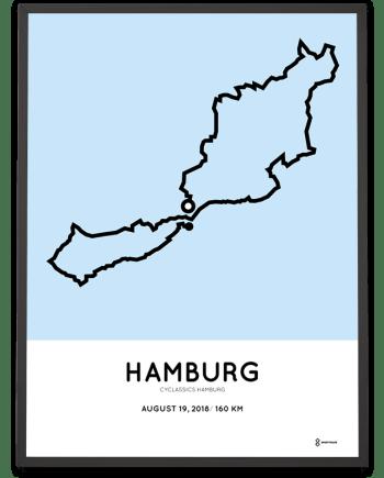2018 Cyclassics Hamburg 160km route poster