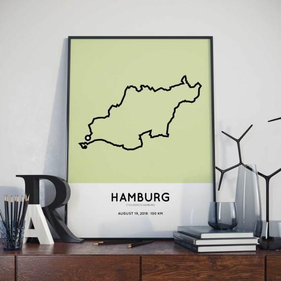 2018 cyclassics Hamburg 100km route strecke poster