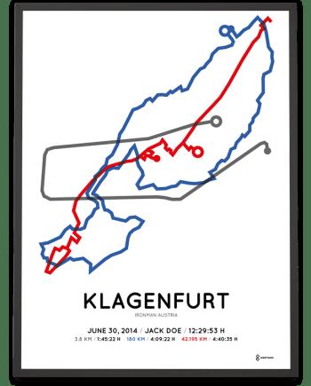 2014 Ironman Austria Klagenfurt strecke map poster