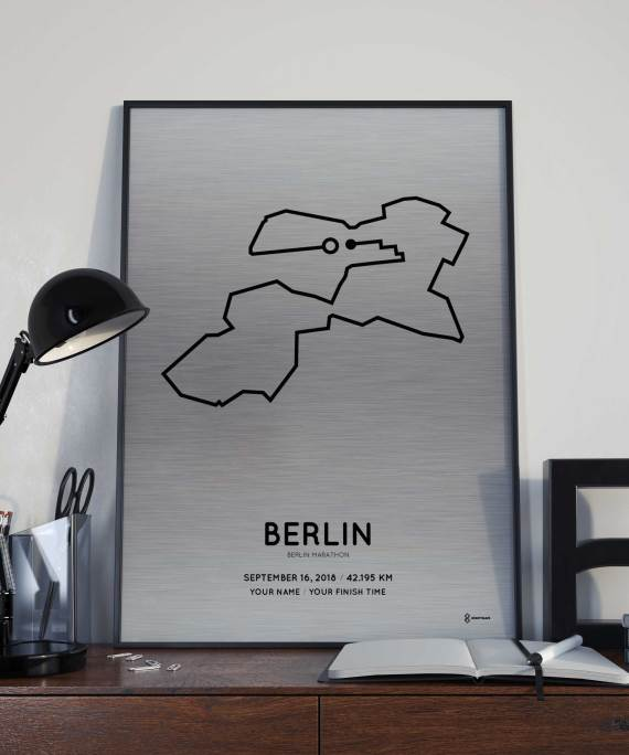 Berlin Marathon course poster on aluminum
