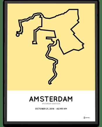 2018 Amsterdam marathon parcours poster