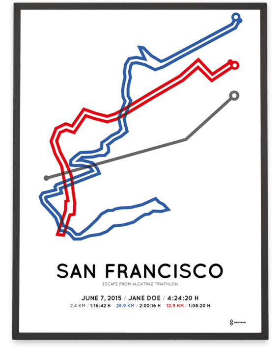 2015 Escape from Alcatraz triathlon course poster