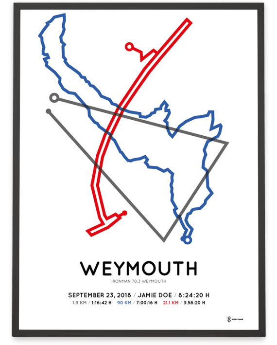 2018 Ironman 70.3 weymouth routemap poster