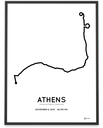 2015 Athens authentic marathon coursemap poster