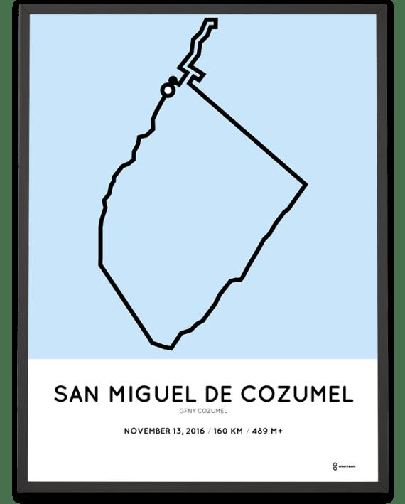 2016 GFNY Cozumel 160km cycling course sportymaps print