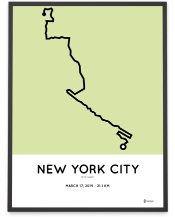2019 NYC half mararthon course map print